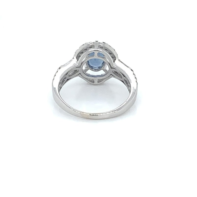 Sapphire and Diamond Halo Ring