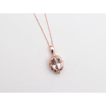 14k Rose Gold Morganite Pendant