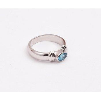 14k White Gold Blue Topaz Ring