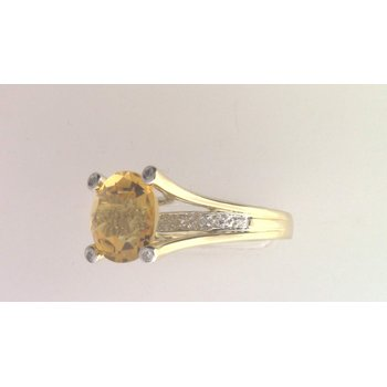 14k Yellow Gold Citrine Quartz Ring