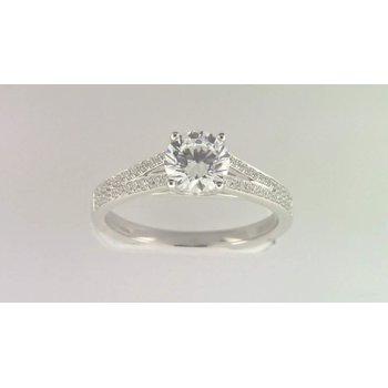 Ladies' 14k White Gold 6 Mm CZ Stone Diamond Semi Mount Ring