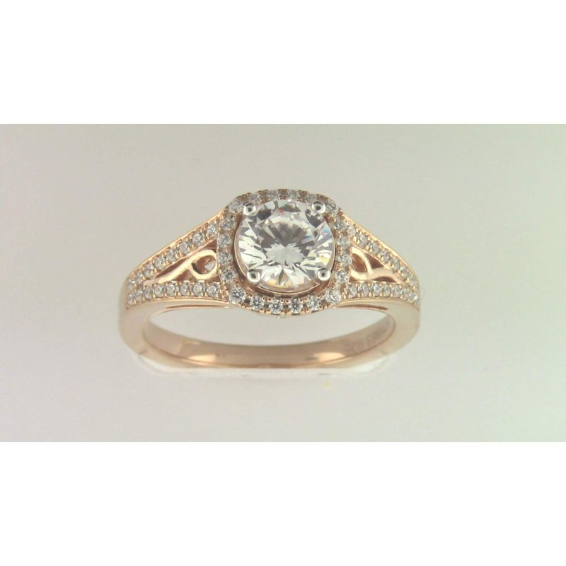 Zeghani Ladies' 14k Rose Gold 6.5 Mm CZ Stone Diamond Semi Mount Ring