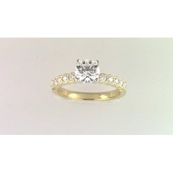 14k Yellow Gold Cz Stone Semi Mount Ring