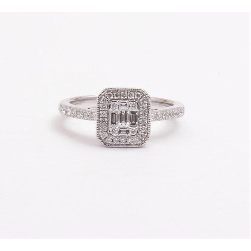 Zeghani 14k White Gold Diamond Ring
