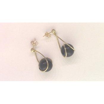 14k Yellow Gold Black Earrings