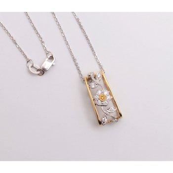 Ladies' 18k Yellow And White Gold Diamond Pendant