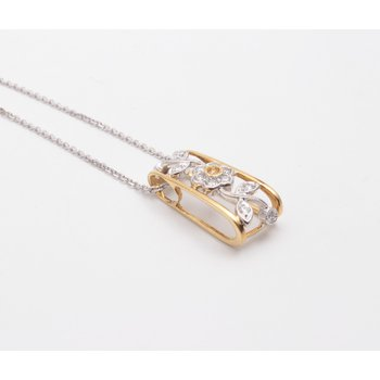 Ladies' 18k Yellow And White Gold Diamond Pendant