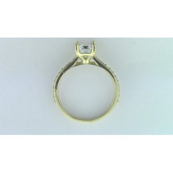 Ladies' 18k Yellow Gold CZ Stone Semi Mount Ring