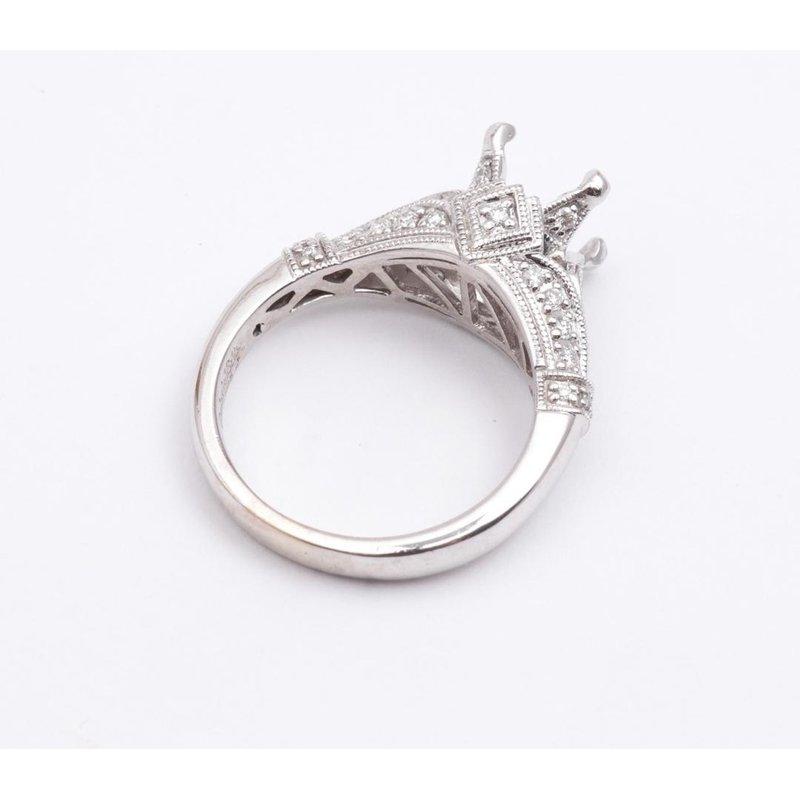 Pugh's Signature 14k White Gold Diamond Semi Mount Ring