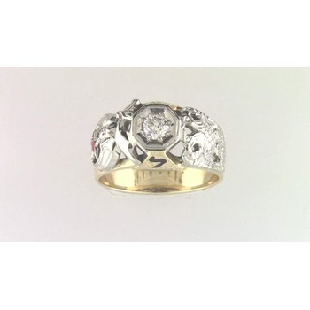 Gentlemans' 14k White And Yellow Gold Diamond Ring