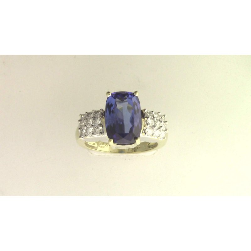 Pugh's Signature 18k Yellow And White Gold Tanzanite Ring