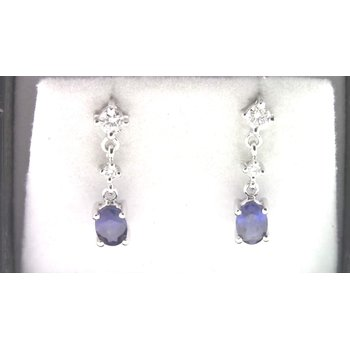 Ladies' 14k White Gold Sapphire Earrings