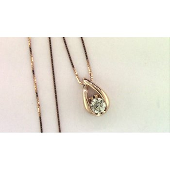 Ladies' 14k Rose Gold Diamond Pendant