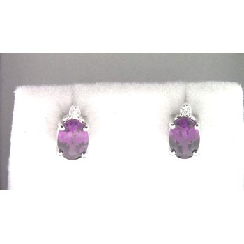 Ladies' 14k White Gold Purple Garnet Earrings