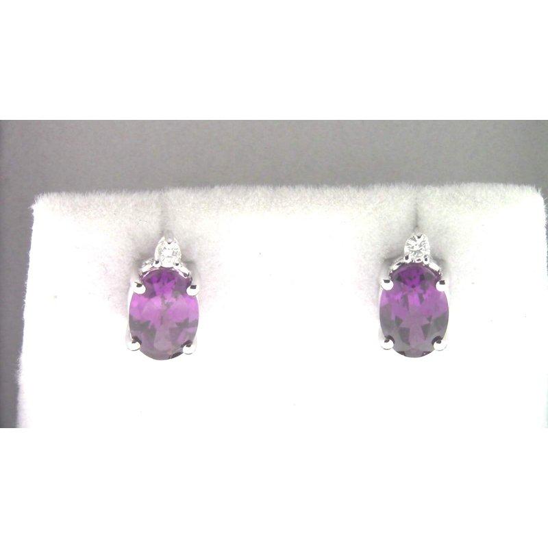 Pugh's Signature Ladies' 14k White Gold Purple Garnet Earrings