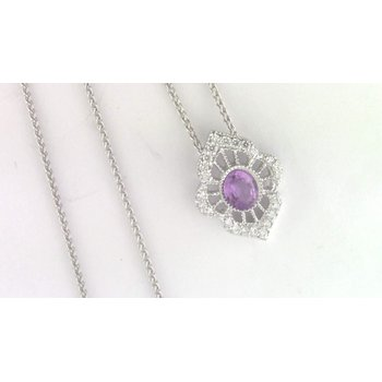 14k White Gold Lavender Sapphire Pendant