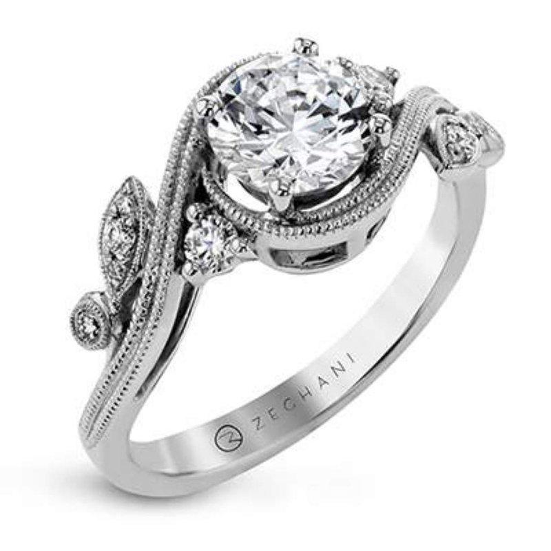 Zeghani Ladies' 14k White Gold Cz Stone Diamond Semi Mount Ring