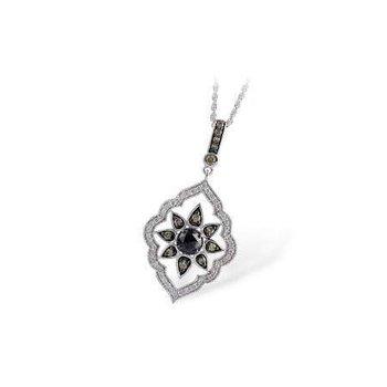 14k White Gold Black Diamond Pendant