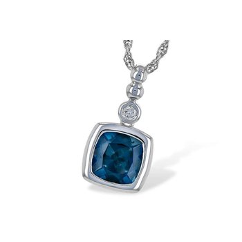 14k White Gold London Blue Topaz Pendant