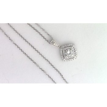 Ladies' 14k White Gold Diamond Pendat