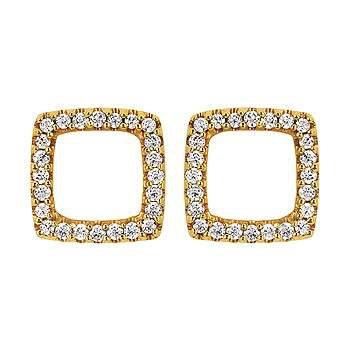 Ladies' 14k Yellow Gold Diamond Earrings