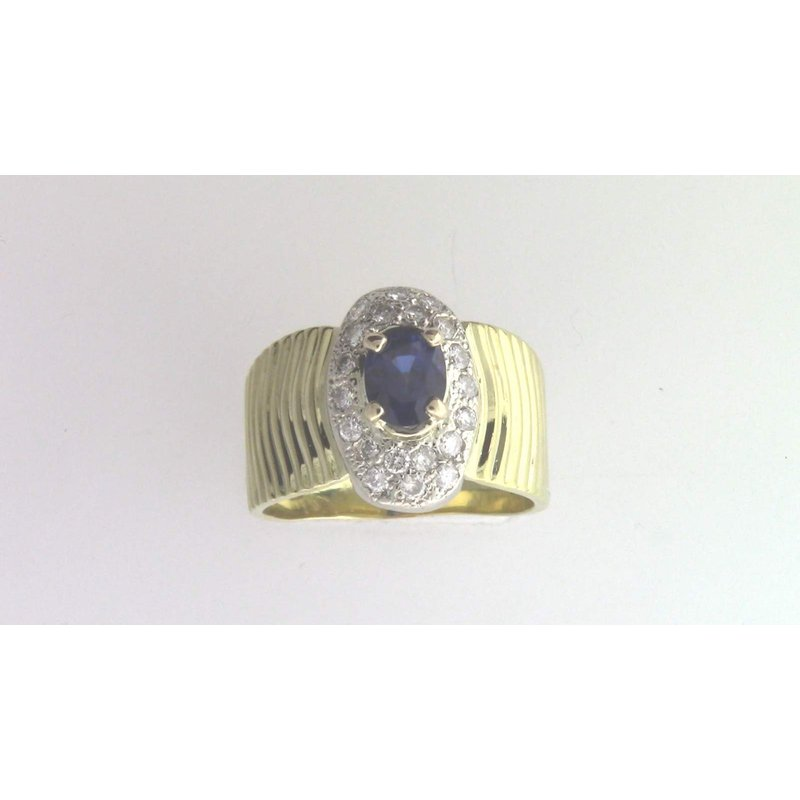 Pugh's Signature 18k Yellow And White Gold Sapphire Ring