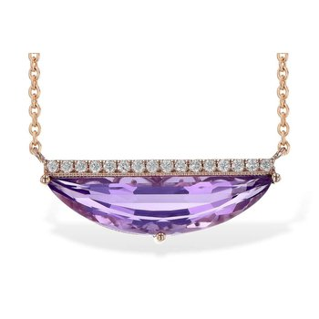 Ladies' 14k Rose Gold Amethyst Necklace