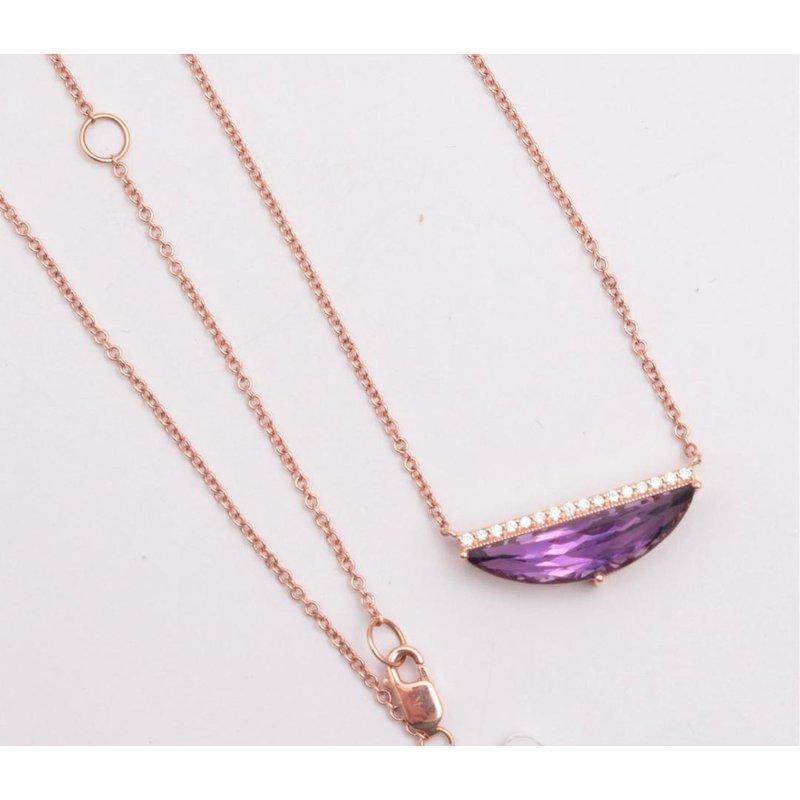 Allison-Kaufman Ladies' 14k Rose Gold Amethyst Necklace