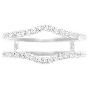 Ladies' 14k White Gold Diamond Double Band Diamond Guard
