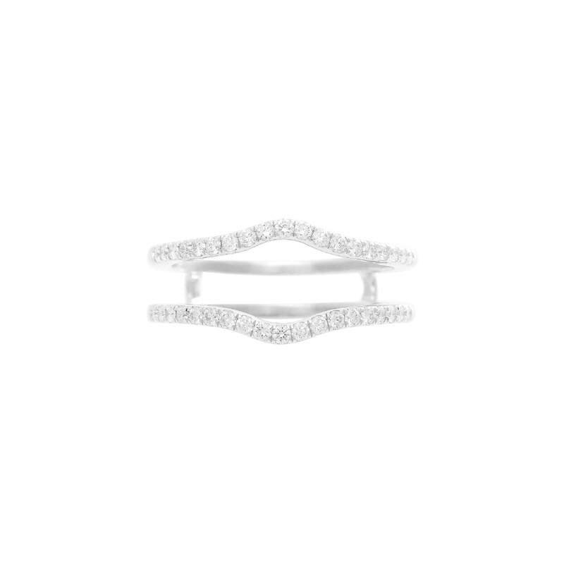 Pugh's Signature Ladies' 14k White Gold Diamond Double Band Diamond Guard