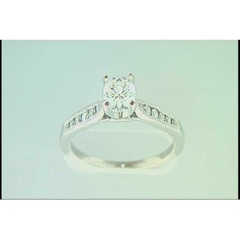 Ladies' 14k White Gold CZ Ring