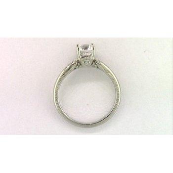 14k White Gold Cz Stone Diamond Semi Mount