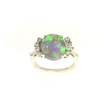 Ladies' Platinum Black Opal Ring