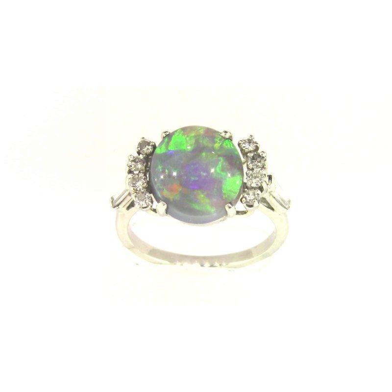 Pugh's Signature Ladies' Platinum Black Opal Ring