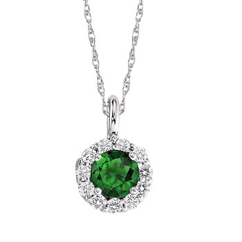Ladies' 14k White Gold Emerald Pendant