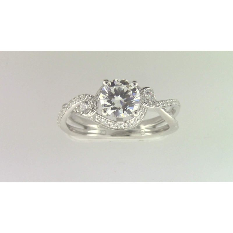 Zeghani Ladies' 14k White Gold 7 Mm CZ Stone Diamond Semi Mount Ring