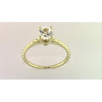 14k Yellow Gold Cz Stone Diamond Semi Mount Ring