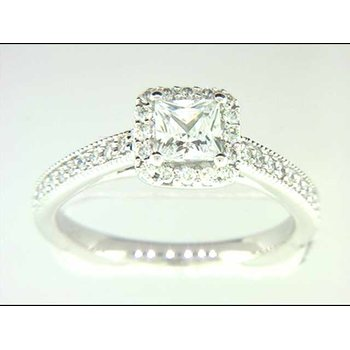 Ladies' 14k White Gold Square CZ Stone Ring