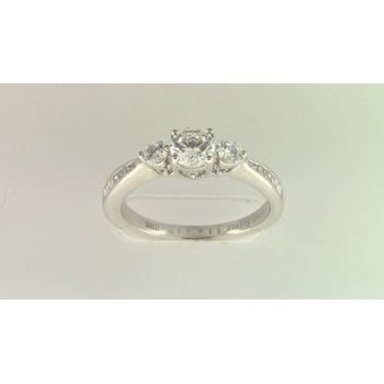 Ladies' 14k White Gold 5 Mm CZ Stone Diamond Semi Mount Ring