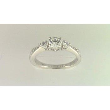 Ladies' 14k White Gold 5 Mm CZ Stone Diamond Semi Mount Ring