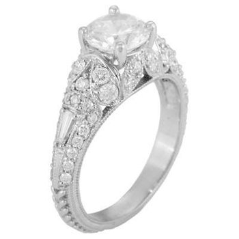 Ladies' 14k White Gold 6.5 Mm CZ Diamond Semi Mount Ring
