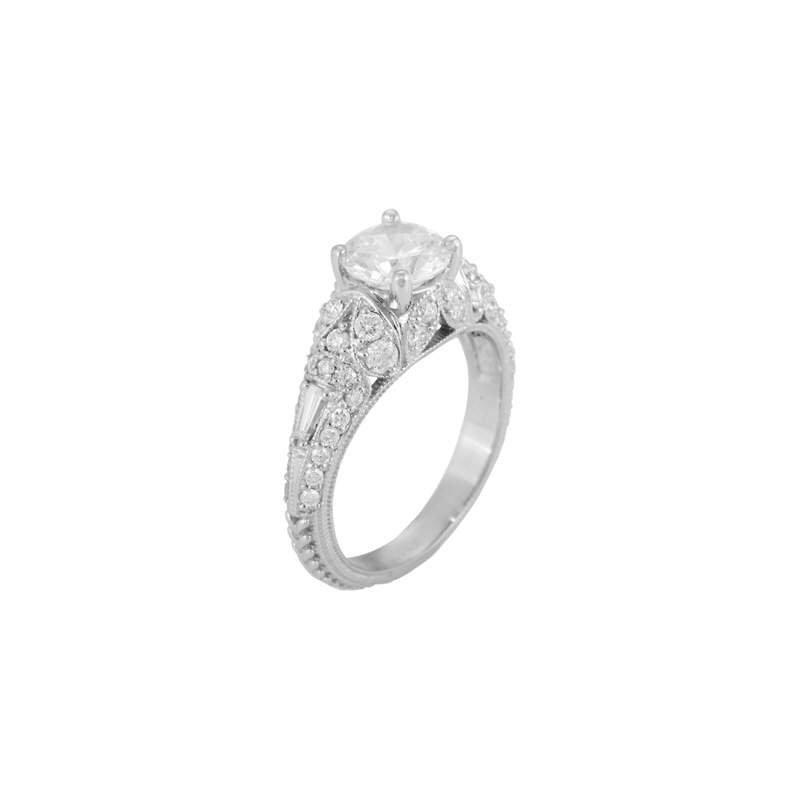 Pugh's Signature Ladies' 14k White Gold 6.5 Mm CZ Diamond Semi Mount Ring