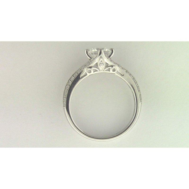 Zeghani Ladies' 14k White Gold 6.5 Mm CZ Stone Diamond Semi Mount Ring