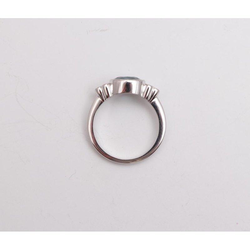 Pugh's Signature 14k White Gold Blue Zircon Ring