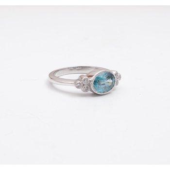14k White Gold Blue Zircon Ring