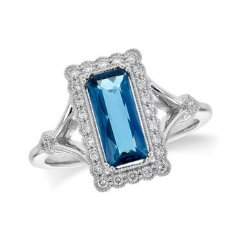 Ladies' 14k White Gold London Blue Topaz Ring