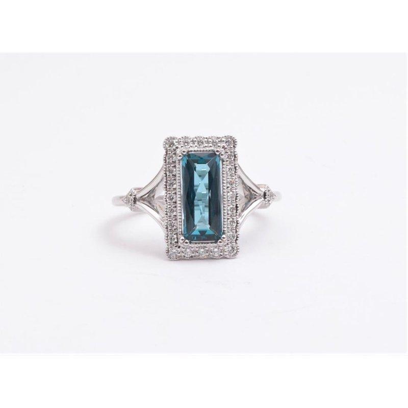 Allison-Kaufman Ladies' 14k White Gold London Blue Topaz Ring