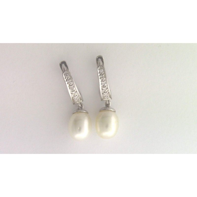 Pugh's Signature 14k White Gold Pearl Earrings