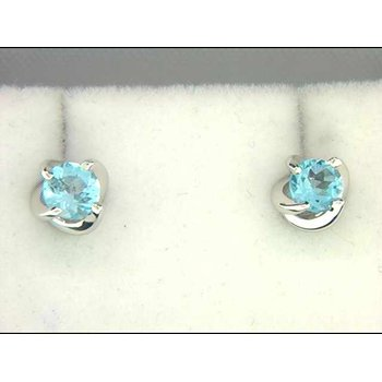Ladies' 14k White Gold Blue Topaz Earrings