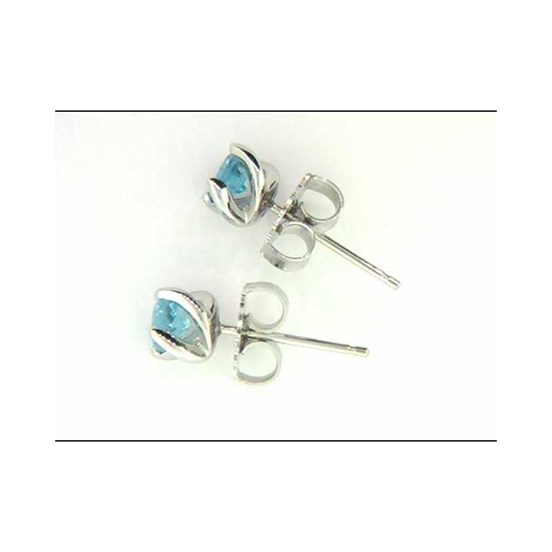 Ostbye Ladies' 14k White Gold Blue Topaz Earrings